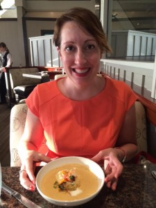 Delaney with Lobster Bisque at Skates on the Bay (Berkeley)