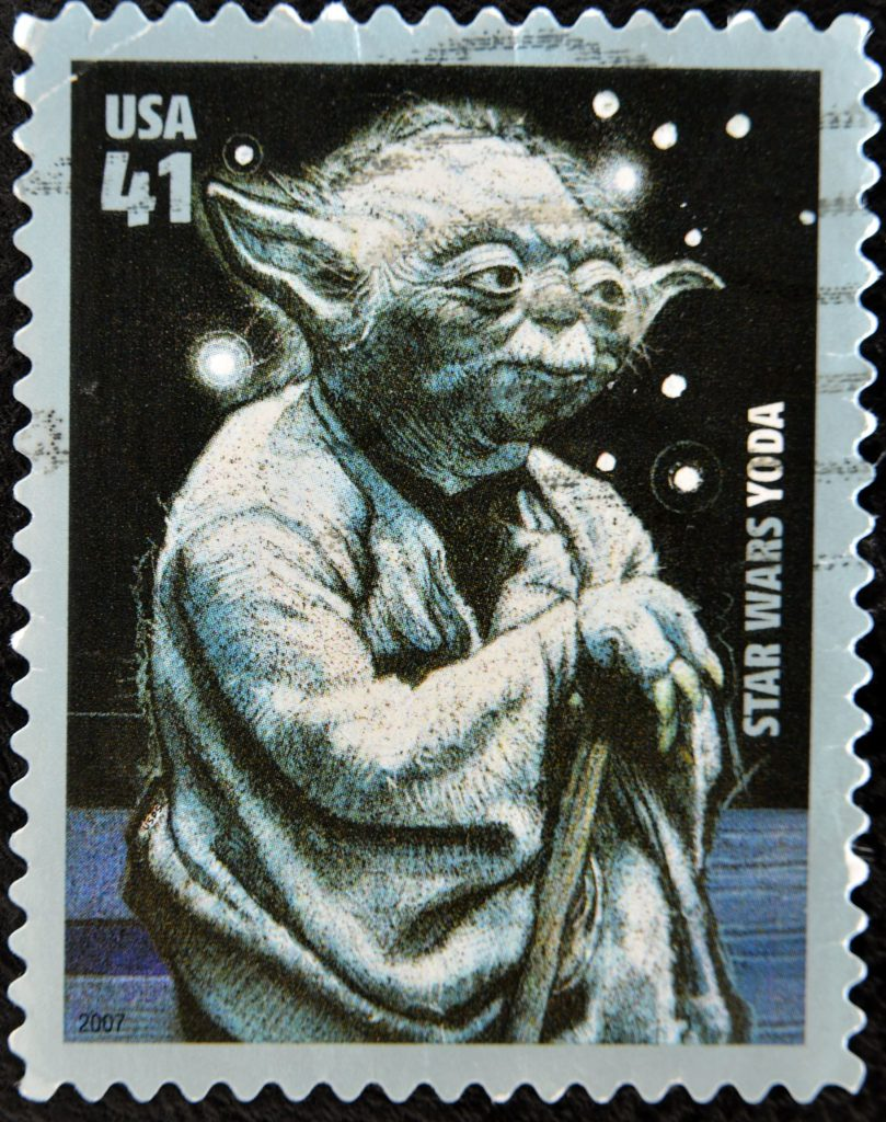11438917 - united states of america - circa 2007: stamp printed by usa, shows star wars, yoda, circa 2007