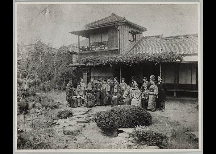 With the support of Sutematsu, Shige, and Alice Bacon, Ume opened her Women's Home School of English, here pictured in its new home, 1901. Ume sits squarely in the center; Alice stands in the back row, second from right.